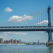 Manhattan Bridge and Williamsburg Bridge, view from Main Street Park, Brooklyn NYC. Photo by Alabastro Photography.