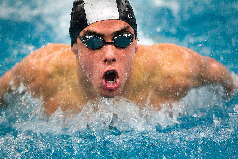 Jordan Fletcher of West Jordan High School competes in the 100 yard Butterfly at the 5A swim championships the Richard's Building at BYU in Provo, Utah Saturday Feb 10, 2007 in Salt Lake City, Utah. August Miller/Deseret Morning News