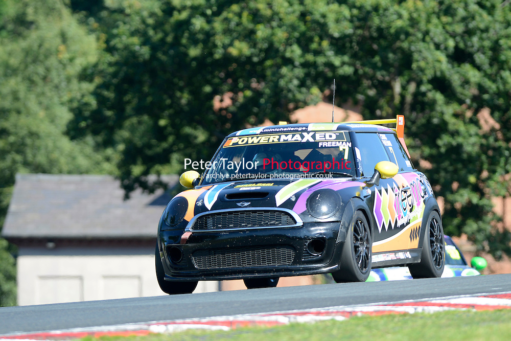 #7 Craig FREEMAN MINI JWC during Power Maxed Mini Challenge - F56/JCW - Qualifying  as part of the Mini Festival  at Oulton Park, Little Budworth, Cheshire, United Kingdom. August 08 2015. World Copyright Peter Taylor. Copy of publication required for printed pictures.  Every used picture is fee-liable. http://archive.petertaylor-photographic.co.uk