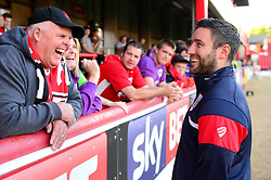 Bristol City head coach Lee Johnson speaks to travelling Bristol City fans ahead of the game against Brentford - Mandatory by-line: Dougie Allward/JMP - 15/08/2017 - FOOTBALL - Griffin Park - Brentford, England - Brentford v Bristol City - Sky Bet Championship