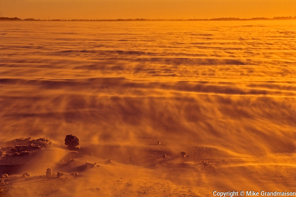 Wind blowing snow off the prairie. Extreme cold.<br /> Dugald<br /> Manitoba<br /> Canada
