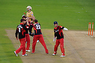 Glamorgan players celebrate after taking the wicket of Warwickshire batsman Rikki Clarke. Friends Life T20 match, Glamorgan Dragons v Warwickshire Bears at the Swalec stadium in Cardiff, South Wales on Sunday 17th June 2012. pic by Andrew Orchard, Andrew Orchard sports photography,