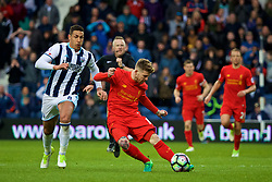 WEST BROMWICH, ENGLAND - Easter Sunday, April 16, 2017, 2016: Liverpool's Alberto Moreno misses an open goal as he shoots from the half-way line in injury time against West Bromwich Albion during the FA Premier League match at the Hawthorns. (Pic by David Rawcliffe/Propaganda)