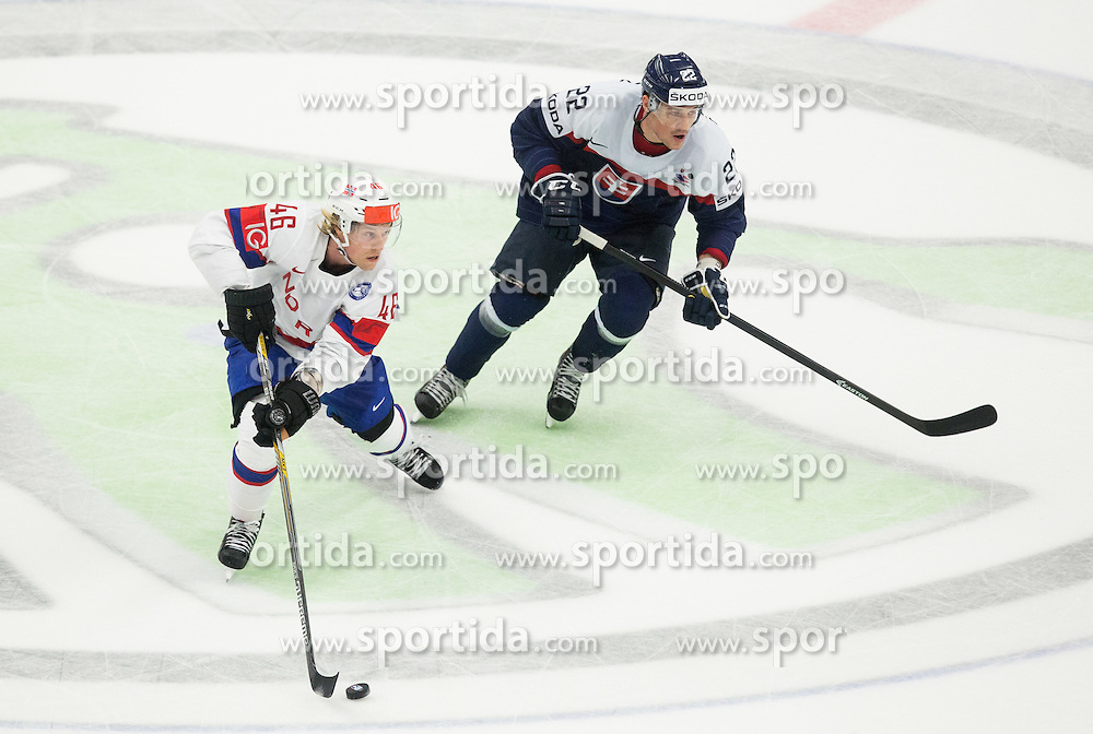 Mathis Olimb of Norway vs Vladimir Dravecky of Slovakia during Ice Hockey match between Slovakia and Norway at Day 6 in Group B of 2015 IIHF World Championship, on May 6, 2015 in CEZ Arena, Ostrava, Czech Republic. Photo by Vid Ponikvar / Sportida