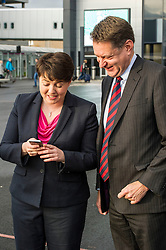 Pictured: Ruth Davidson and Murdo Fraser check their press release to ensure no later changes had been made once Ms Davdson had cleared it last night.<br /> <br />  <br /> Scottish Conservatives leader Ruth Davidson and shadow finance secretary Murdo Fraser headed to Edinburgh Airport to meet Ahmet Serhat Sari, Turkish Airlines General manager for Scotland, 4 years after the airline opened up the route from the capital to Ankera. Ms Davison was keen to discuss the expansion of the Scottish economy.<br /> <br /> Ger Harley | EEm 9 December 2016
