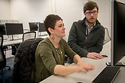 Nathan Berger (Right) provides business advice to Kara Williams at the Idea Lab in Zanesville. Phoot by Ben Siegel