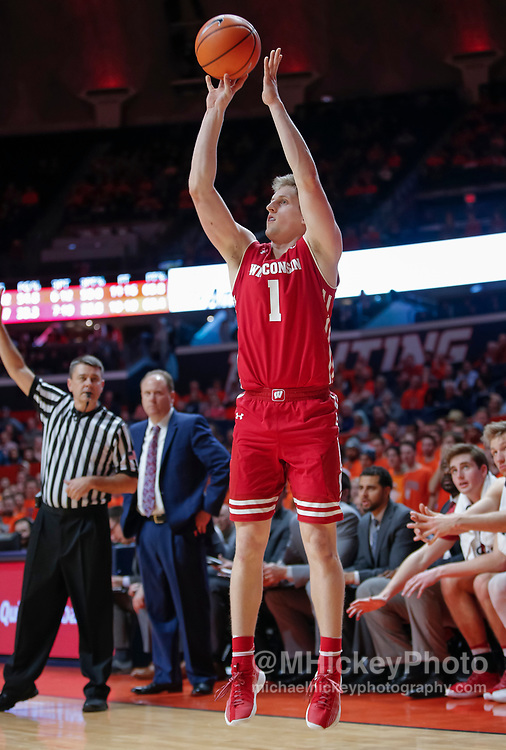 CHAMPAIGN, IL - FEBRUARY 08: Brevin Pritzl #1 of the Wisconsin Badgers shoots the ball during the game against the Illinois Fighting Illini at State Farm Center on February 8, 2018 in Champaign, Illinois. (Photo by Michael Hickey/Getty Images) *** Local Caption *** Brevin Pritzl