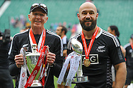 LONDON, ENGLAND - Sunday 11 May 2014, New Zealand captain DJ Forbes (right) with coach Gordon Tietjens with the winners trophy of the Marriott London Sevens rugby tournament being held at Twickenham Rugby Stadium in London as part of the HSBC Sevens World Series.<br /> Photo by Roger Sedres/ImageSA