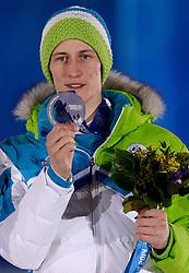 10-02-2014 ALGEMEEN: OLYMPIC GAMES MEDAILLE CEREMONIE: SOTSJI<br /> Ceremony Medal Plaza / Silver medal Peter Prevc SLO on Ski Jumping <br /> ©2014-FotoHoogendoorn.nl<br />  / Sportida