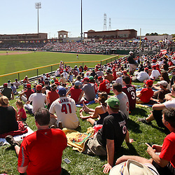 March 05, 2011; Clearwater, FL, USA; Philadelphia Phillies fans watch from a center field picnic area during a spring training game against the New York Yankees  at Bright House Networks Field. Mandatory Credit: Derick E. Hingle-US PRESSWIRE