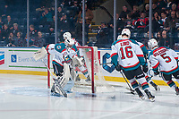 KELOWNA, CANADA - NOVEMBER 11: James Porter #1 of the Kelowna Rockets scuffs the ice in the crease at the start of the game against the Red Deer Rebels on November 11, 2017 at Prospera Place in Kelowna, British Columbia, Canada.  (Photo by Marissa Baecker/Shoot the Breeze)  *** Local Caption ***