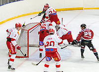 2020-01-19 | Umeå, Sweden:Vallentuna (1) Alexander Jirhage saves a goal again in  AllEttan during the game  between Teg and Vallentuna at A3 Arena ( Photo by: Michael Lundström | Swe Press Photo )<br /> <br /> Keywords: Umeå, Hockey, AllEttan, A3 Arena, Teg, Vallentuna, mltv200119