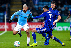 Sergio Aguero of Manchester City takes on Rachid Ghezzal of Leicester City - Mandatory by-line: Robbie Stephenson/JMP - 18/12/2018 - FOOTBALL - King Power Stadium - Leicester, England - Leicester City v Manchester City - Carabao Cup Quarter Finals