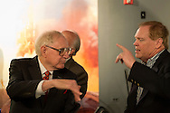 Garden City, New York, U.S. - August 4, 2014 - At left, FRANK T. HAYES, President of AFA Air Force Association Iron Gate Chapter No. 275, of Port Washington, in audience for event with Dan Hampton, best selling author and retired USAF F-16 legend, discussing his new book Lords of the Sky, a comprehensive popular history of combat aviation, at the Cradle of Aviation Museum in Long Island. Hampton, the author of New York Times best seller Viper Pilot, and the recipient of numerous awards including four Distinguished Flying Crosses with Valor and a Purple Heart, then signed his book about the history of famous military fighter pilots and their planes.