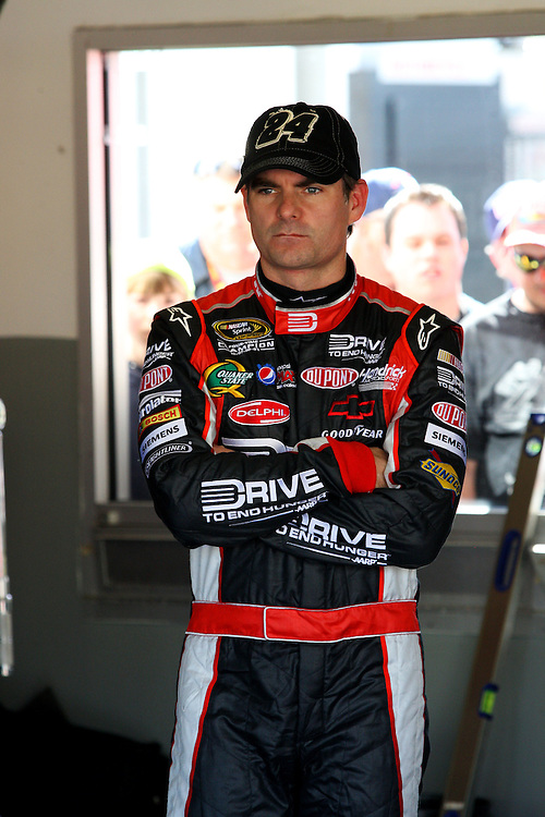 Feb 12, 2010; Daytona Beach, FL, USA; NASCAR Sprint Cup Series driver Jeff Gordon (24) in the garage during practice for the Daytona 500 at Daytona International Speedway. Mandatory Credit: Douglas Jones-DDJ Sports Imaging