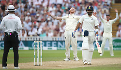 England bowler Ben Stokes shows his frustration after a LBW appeal is turned down by the umpire as India batsman Virat Kohli looks on during day three of the Specsavers First Test match at Edgbaston, Birmingham.