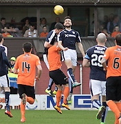 Dundee&rsquo;s Kostadin Gadzhalov heads clear - Dundee United v Dundee in the Ladbrokes Premiership at Tannadice<br /> <br />  - &copy; David Young - www.davidyoungphoto.co.uk - email: davidyoungphoto@gmail.com