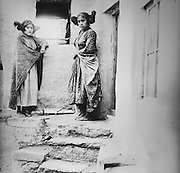 Pueblo ancestors, 2 Hopi girls in Arizona, 19th century photograph, from the Anasazi Heritage Center, an archaeological museum of Native American pueblo and hunter-gatherer cultures, Dolores, Colorado, USA. Picture by Manuel Cohen