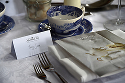 Detail of a name plate for Terry Jones and Nourish leaflet, as guests attend A Very Special Afternoon Tea with nutritionist Jane Clarke to launch Nourish website and community, which is dedicated to helping people with cancer and dementia through the power of good food and expert support, at the Royal Hospital Chelsea in London.