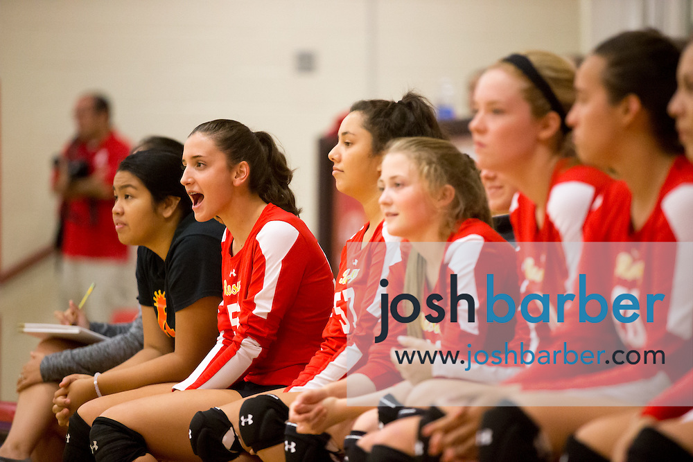Rosary team during a non-league girl's volleyball match between the Canyon Comanches and Rosary Royals at Rosary Academy on Thursday, September 17, 2015 in Fullerton, California.