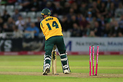 Luke Wood of Nottinghamshire Nottinghamshire Outlaws is bowled out during the Vitality T20 Blast North Group match between Nottinghamshire County Cricket Club and Worcestershire County Cricket Club at Trent Bridge, West Bridgford, United Kingdon on 18 July 2019.