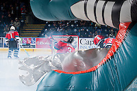 KELOWNA, CANADA - NOVEMBER 30: Riley Stadel #3 of the Kelowna Rockets enters the ice against the Kamloops Blazers on November 30, 2013 at Prospera Place in Kelowna, British Columbia, Canada.   (Photo by Marissa Baecker/Shoot the Breeze)  ***  Local Caption  ***