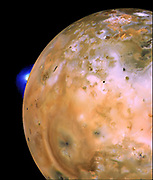Voyager 1 image of Io showing active plume of Loki on limb. Heart-shaped feature southeast of Loki consists of fallout deposits from active plume Pele. The images that make up this mosaic were taken from an average distance of approximately 490,000 kilometres (340,000 miles). Jupiter's moons