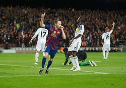 24.04.2012, Stadion Camp Nou, Barcelona, ESP, UEFA CL, Halblfinal-Rueckspiel, FC Barcelona (ESP) vs FC Chelsea (ENG), im Bild FC Barcelona's Andres Iniesta celebrates scoring the second goal against Chelsea during the UEFA Championsleague Halffinal 2st Leg Match, between FC Barcelona (ESP) and FC Chelsea (ENG), at the Camp Nou Stadium, Barcelona, Spain on 2012/04/24. EXPA Pictures © 2012, PhotoCredit: EXPA/ Propagandaphoto/ David Rawcliff..***** ATTENTION - OUT OF ENG, GBR, UK *****