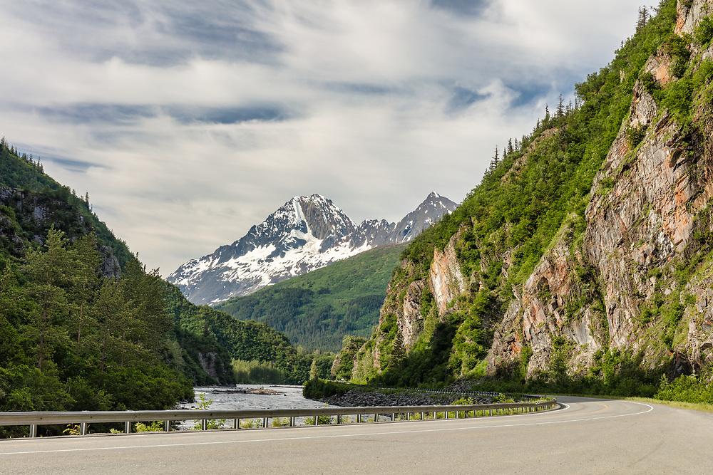 Keystone Canyon near Valdez in Southcentral Alaska. Summer. Morning.
