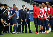 French President Emmanuel Macron salutes Coach of PSG Thomas Tuchel and his players while President of PSG Nasser Al Khelaifi, Thiago Silva of PSG, President of French Football Federation (FFF) Noel Le Graet look on during the teams' presentation before the French Cup final football match between Paris Saint-Germain (PSG) and Saint-Etienne (ASSE) on Friday 24, 2020 at the Stade de France in Saint-Denis, near Paris, France - Photo Juan Soliz / ProSportsImages / DPPI