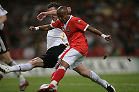 Photo: Rich Eaton.<br /> <br /> Wales v Germany. UEFA European Championships Qualifying. 08/09/2007. Wales' Robert Earnshaw shoots