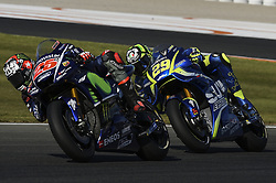 November 11, 2017 - Cheste, Spain - Maverick Vinales (Movistar Yamaha MotoGP) and Andrea Iannone (Suzuki Ecstar)during qualifying session at Valencia Motogp  (Credit Image: © Gaetano Piazzolla/Pacific Press via ZUMA Wire)