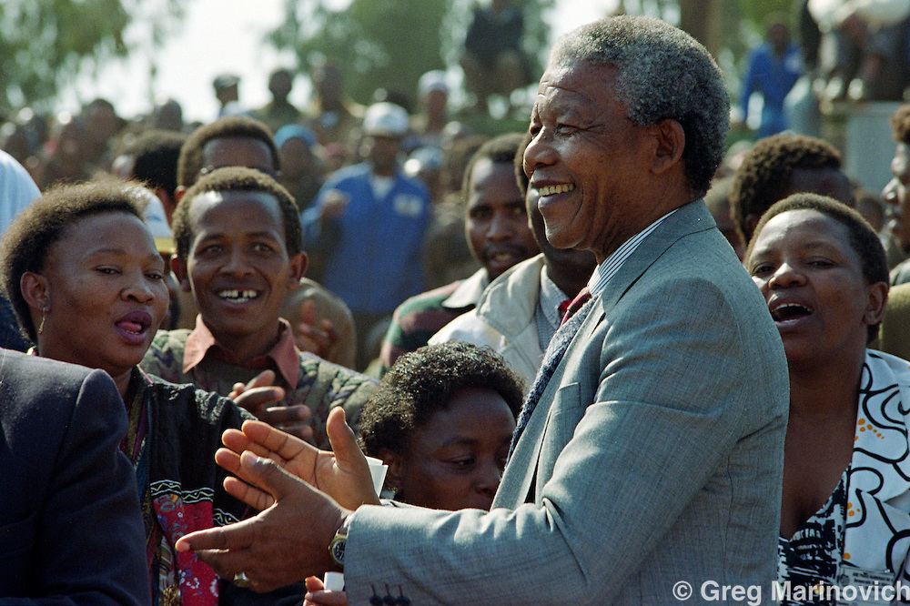 ANC leader Nelson Mandela at Phola Park, Thokoza, Trannsvaal, South Africa, 30 May 1992
