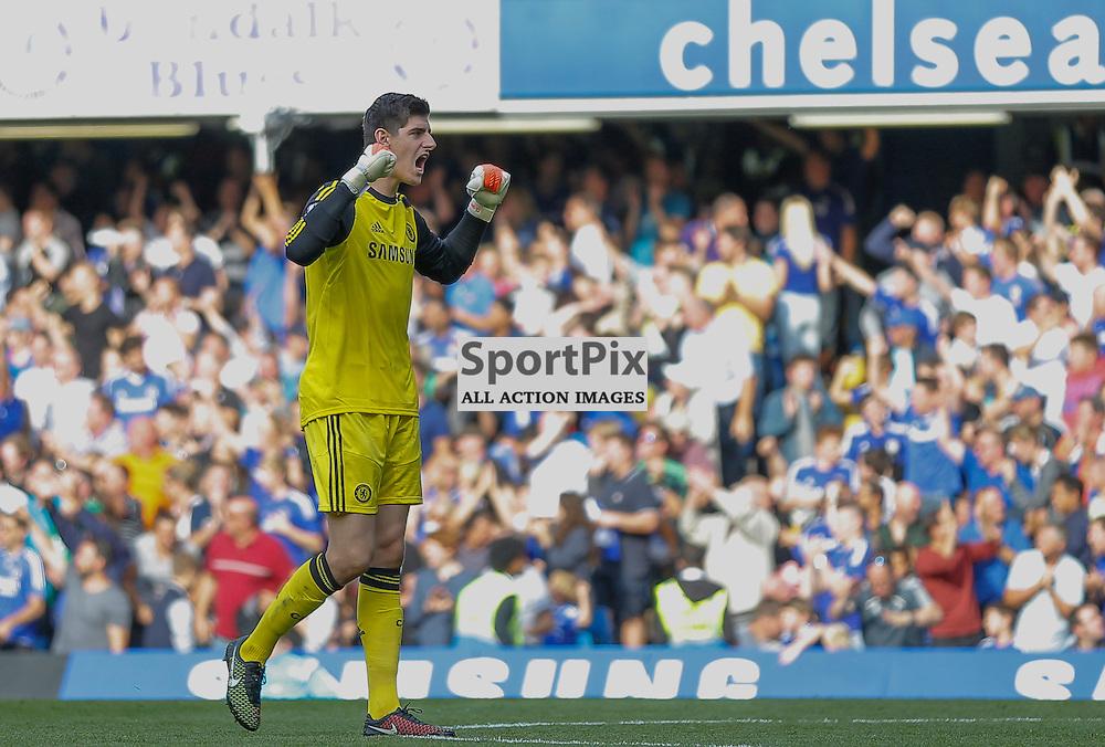 13 GK Thibaut Courtois celebrates Chelsea's 3rd goal | Chelsea v Swansea City - Stamford Bridge -  Barclays Premier League - 13/09/2014  | Andy Walter (c) Sportpix.org