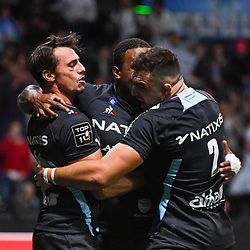 Juan Imhoff celebrates a try during the Top 14 match between Racing 92 and Castres at Paris La Defense Arena on September 22, 2018 in Nanterre, France. (Photo by Anthony Dibon/Icon Sport)