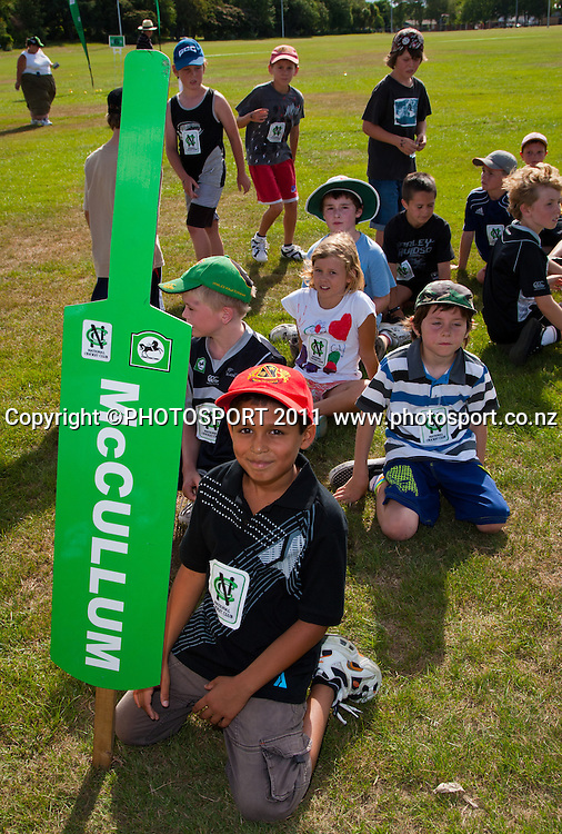 Teams line up during the NCC Super Camp for Primary School players, an initiative by The National Bank to connect with the grass roots of cricket, hosted by Hamilton Star University Cricket Club, Waikato University, Hamilton, New Zealand, Wednesday 5 January 2011. Photo: Stephen Barker/PHOTOSPORT