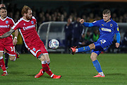 AFC Wimbledon midfielder Max Sanders (23) shoots at goal during the EFL Sky Bet League 1 match between AFC Wimbledon and Gillingham at the Cherry Red Records Stadium, Kingston, England on 23 November 2019.