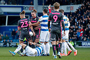 Leeds United midfielder Kalvin Phillips (23) challenge gets him a red card and a sending off during the EFL Sky Bet Championship match between Queens Park Rangers and Leeds United at the Kiyan Prince Foundation Stadium, London, England on 18 January 2020.