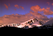 Pink sunrise on Quandary Peak in Winter