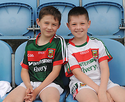 Mayo Supporters from Ballina Oisin Anderson and Anthony Neary watchin on as the U20&rsquo; playes Leitrim at MacHale Park on saturday last.<br />Pic Conor McKeown