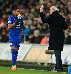 Leicester City manager Claudio Ranieri gives Riyad Mahrez of Leicester City directions during the first half. - Mandatory by-line: Alex James/JMP - 12/02/2017 - FOOTBALL - Liberty Stadium - Swansea, England - Swansea City v Leicester City - Premier League