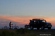Preparing dinner at campsite at Ft Peck Reservoir in Montana model released