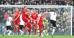 LONDON, ENGLAND - Sunday, May 12, 2013: Liverpool's Stewart Downing, Lucas Leiva, Fabio Borini, Jordan Henderson and Philippe Coutinho Correia form a defensive wall to face a free-kick from Fulham's John Arne Riise during the Premiership match at Craven Cottage. (Pic by David Rawcliffe/Propaganda)
