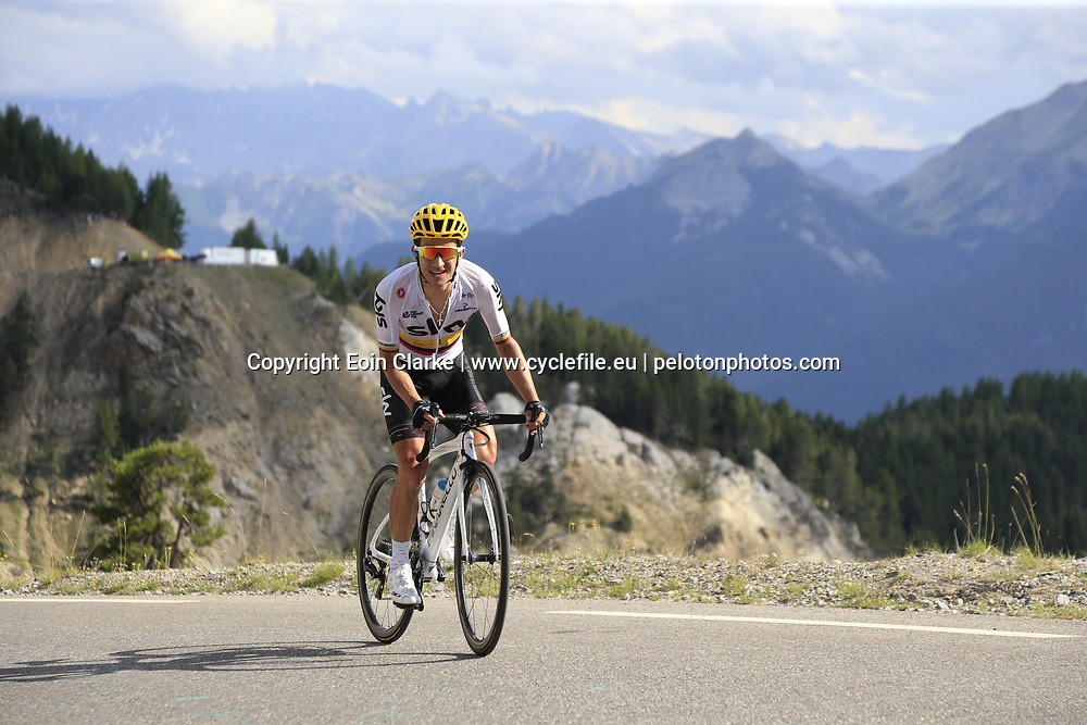 Sergio Henao Montoya (COL) Team Sky climbs through the Caisse Deserte on Col d'Izoard during Stage 18 of the 104th edition of the Tour de France 2017, running 179.5km from Briancon to the summit of Col d'Izoard, France. 20th July 2017.<br /> Picture: Eoin Clarke | Cyclefile<br /> <br /> All photos usage must carry mandatory copyright credit (&copy; Cyclefile | Eoin Clarke)