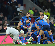 Twickenham, Great Britain, France scrum half, Sebastien TILLOUS-BORDE, passes the ball out from the back of the scrum, during the Six Nations Rugby England vs France, played at the RFU Stadium, Twickenham, ENGLAND. <br /> <br /> Saturday   21/03/2015<br /> <br /> [Mandatory Credit; Peter Spurrier/Intersport-images]