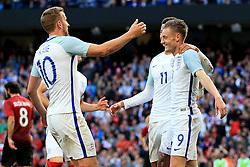 England's Jamie Vardy celebrates with Harry Kane after the second goal - Mandatory byline: Matt McNulty/JMP - 07966386802 - 22/05/2016 - FOOTBALL - Etihad Stadium -Manchester,England - England v Turkey - International Friendly
