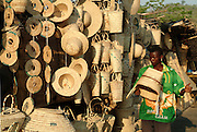 Africa. Zambia. Luangwa Bridge road stop..Baskets for sale..CD0009