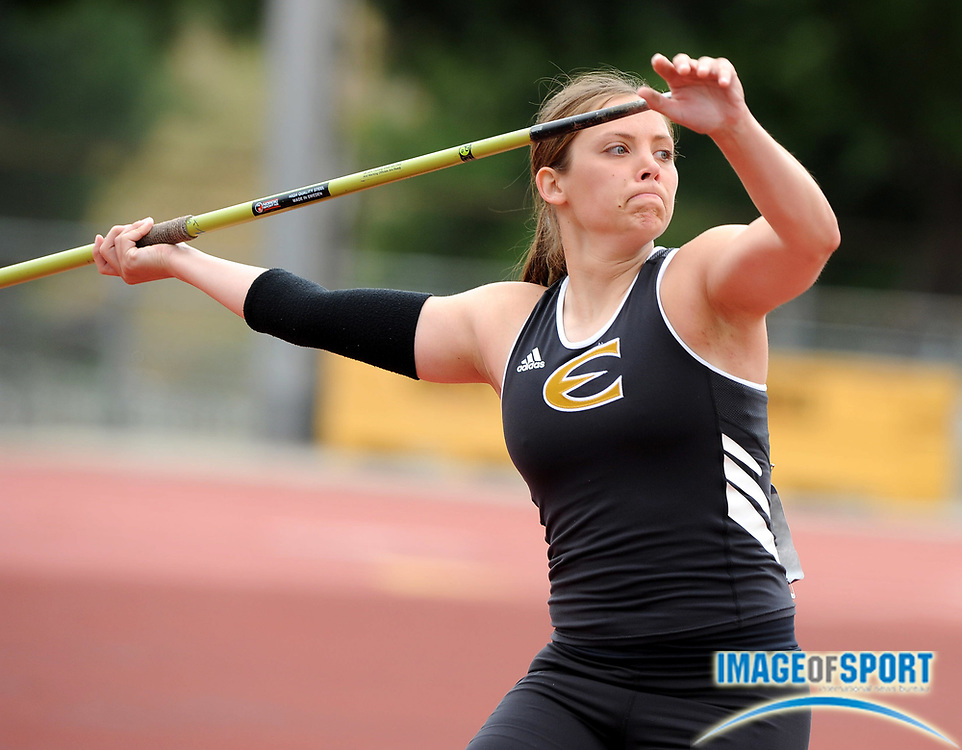 May 24, 2008; Walnut, CA, USA; Connie Phillips of Emporia State was eighth in the women's javelin at 138-2 (42.11m) in the NCAA Track & Field Championships at Mt. San Antonio College's Hilmer Lodge Stadium.