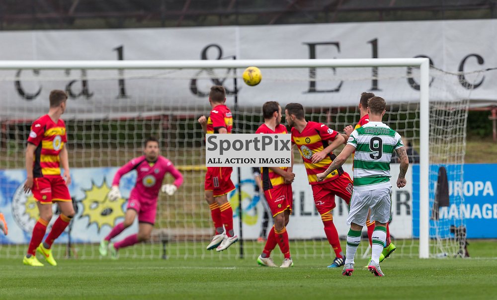 Leigh Griffiths has a free kick saved during the Scottish Premiership match between Partick Thistle and Celtic (c) ROSS EAGLESHAM | Sportpix.co.uk