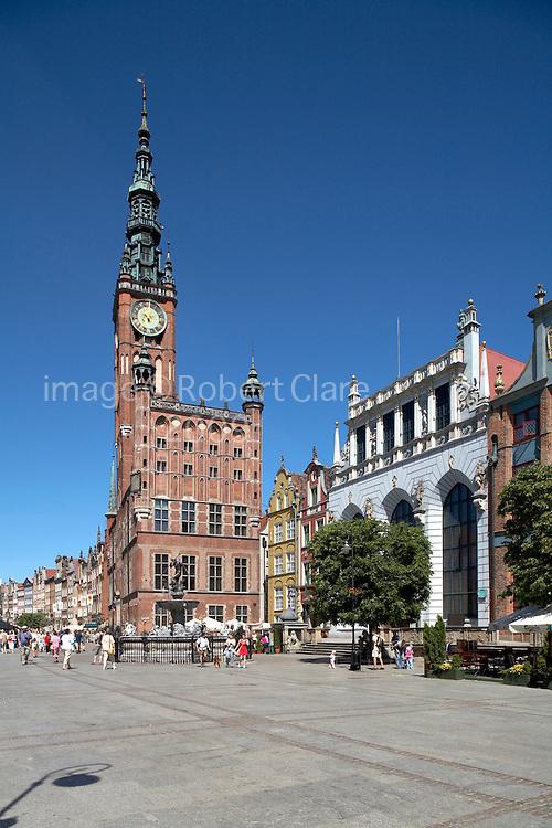 Poland Gdansk Long Market Dlugi Targ Town Hall